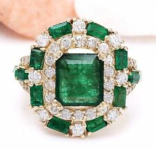 6.90CTW NATURAL COLOMBIAN EMERALD AND DIAMOND RING IN 14K YELLOW GOLD