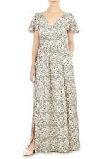 eShakti Custom Women's Plus Floral Bird Print Crepe Maxi Dress