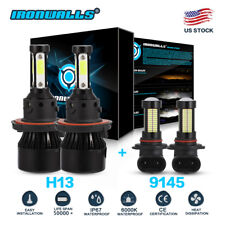 4-sides H13 9008 LED Headlight+9145 9140 Fog Lights kit for 2004-2014 Ford F-150