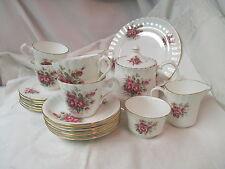 England Queensway Pink Roses Teapot Creamer Sugar Cups Saucers Dessert Plates