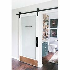 Modern Sliding Barn Door Hardware Kit 8 Foot Steel Smooth Roll Bathroom Black