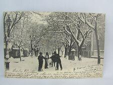 cpa 07 privas cours du palais sous la neige anime