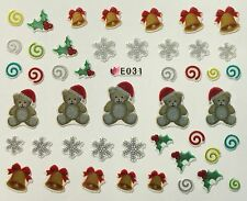 Christmas Nail Art Stickers Decals Snowflakes Teddy Bear Bells Holly Swirls E31
