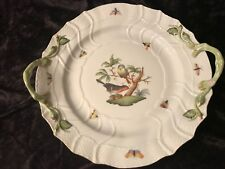 """Herend Rothschild Bird Handled 12"""" Chop Plate or Tray MINT Condition"""