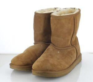 J34  MSRP $170 Women's Sz 7 M UGG Classic Short II Shearling Boots - Chestnut