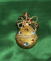 Vintage Gold Tone Christmas Ball Ornament Pin Brooch Rhinestones *EXCEPTIONAL*