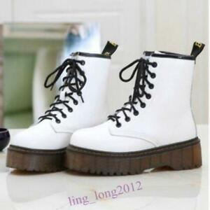 Retro Womens Lace Up Creeper Platform Shoes Ankle Boots Combat Riding Boots warm
