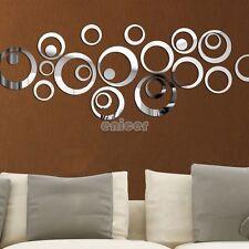 DIY Círculos de plata Espejo Decoración etiqueta de la pared Home Adhesivos ENE