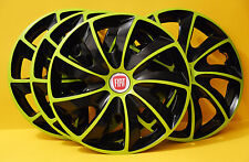 "14"" FIAT 500,Punto,Tempra.. WHEEL TRIMS/COVERS ,HUB CAPS,Quantity 4,Green&Black"