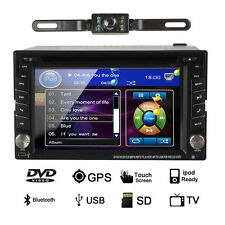 GPS 6.2'' Double 2DIN Car Stereo Radio DVD Navi Player Bluetooth iPod MP3+Camera
