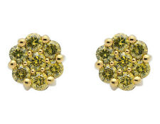 10k Yellow Gold Unisex Canary Flower Cluster Diamonds 8mm Earrings Studs 1ct