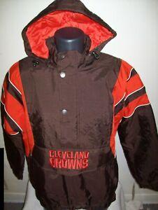 CLEVELAND BROWNS Starter Hooded Half Zip Pullover Jacket  M L XL BROWN