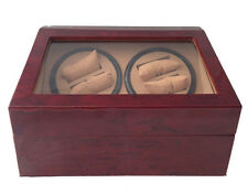 (4) + 6 AUTOMATIC DUAL DOUBLE QUAD WATCH WINDER BURLWOOD WOOD DISPLAY BOX/CASE