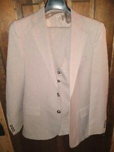 "Southport By Anderson~Little Size 36  Beige Pinstripe Suit w Vest 26"" X 29"" Pant"