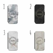 Personalised name marble H29 flip Wallet phone Case
