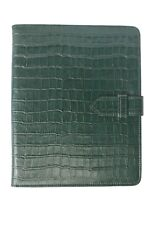 NEW iPAD 2, 3 & 4 COVER GREEN CROC PRINT LEATHER LUXURY SMART SCREEN CASE STAND