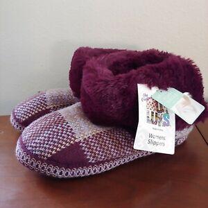 MUK LUKS Purple Faux Fur Low Bootie Size 9 NWT
