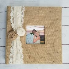 Rustic Lace Photo Album -Holds 160 pictures -burlap flower vacation wedding gift