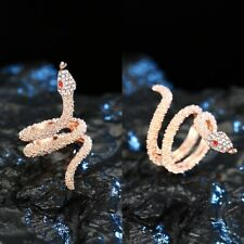 Punk Gothic Vintage Rings Women Fashion Snake Crystal Rings Jewelry Sz 7-9
