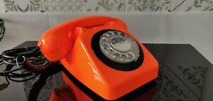 Vintage 746 Rotary Dial Telephone in Orange/Black (1980s)