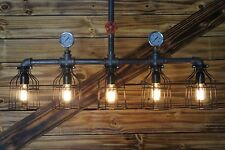 Edison Age industrial 5-Light Pendant chandelier ,Steampunk Pipe Light.  Rustic.