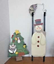 Lot of 2~CHRISTMAS Wooden WALL HANGINGS~Christmas Tree & Snowman Sleigh