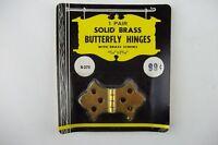 "2 Vintage SOLID BRASS Butterfly Hinges w/ Screws 13/16"" x 2 5/16"", Door Chest"