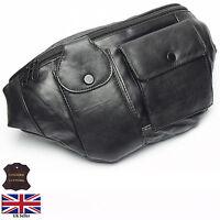 Real Leather X-Large Bum Waist Bag Money Belt Pouch Black Bumbag Mobile Holder