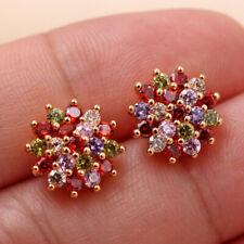 18K Gold Filled - Flower Rainbow Topaz Ruby Amethyst Morganite Stud Earrings DS