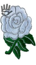 England Rugby English Rose Flower IronSew On Patch white green A160