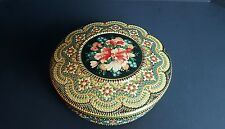 Vintage Painted Mosaic Metal Cookie Sewing Keepsake Tin Floral Made in Holland
