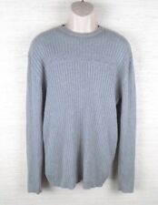 DKNY JEANS Men's Sweater Size XL Logo Gray Ribbed Pullover Long Sleeve