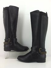 Unisa Teylor Wide Calf Brown Chain Accent Tall Riding Boots Womens Size 6 M  .