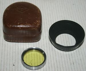 Agfa 36.5mm Yellow Screw Lens Filter With Lens Hood & Leather Case