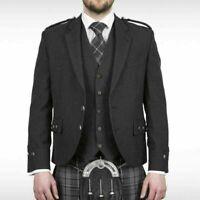 Men's Argyle Charcoal tweed Kilt Jacket, Waistcoat/Vest Custom made Tweed jacket