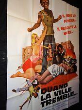 QUAND LA VILLE TREMBLE The Zebra Killer rare affiche cinema  blaxploitation 1974