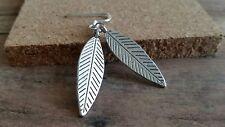 Silver Leaf earrings, long dangle, silvertone, fashion jewelry, usa seller