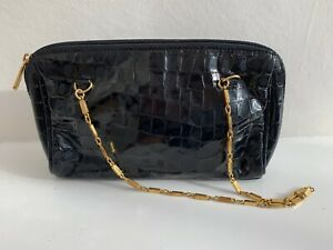 VINTAGE JANE SHILTON Black Leather Mock Croc Shoulder Bag