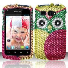 For Kyocera Hydro C5170 Crystal Diamond BLING Hard Case Phone Cover Green Owl
