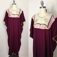 Vintage 60s Embroidered Kaftan Dress Size Large