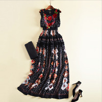 Runway fashion three-dimensional embroidery flower popular CARDS printed dress