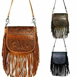 Genuine Leather Purse Vintage Floral Tooled Fringe Montana West Crossbody Bag