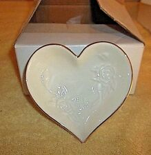 Lenox Sculpted Rose Heart Dish 24K gold trim New In Box