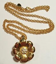 """Joan Rivers Gold and Crystal Dahlia Flower Pendant with 22"""" Chain Necklace"""