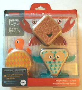 Fisher Price Wooden Toys SHAPE-IMALS 3 Pack New