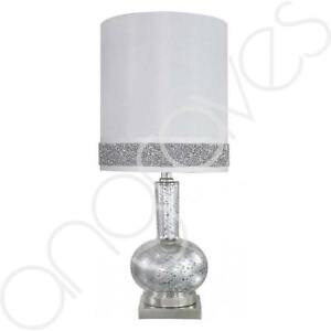 Crystal Table Ball Lamp With White Round Shade & Sparkling Silver Detailed Rim