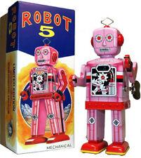 """Robot 5"" Tin Toy Windup Robot Pink Edition"