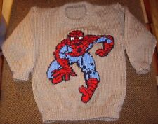 SPIDERMAN  JUMPER  NEW HAND KNITTED SIZE 4-5