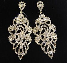 GOLD W. CLEAR RHINESTONE BRIDAL PARTY EARRINGS