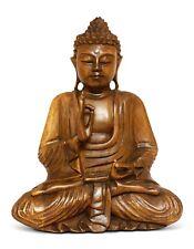"8"" Wooden Serene Meditating Buddha Art Statue Hand Carved Sculpture Home Decor"